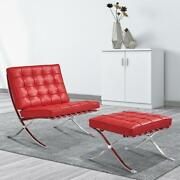 Red Barcelon-a Chair Lounge Chair And Ottoman Club Chair Stainless Steel Frame