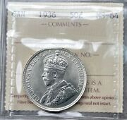 1936 Canada Silver Half Dollar 50 Cent Coin - Iccs Ms 64 - Key Date