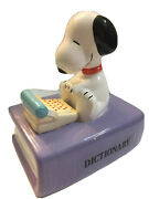 Vintage Peanuts Snoopy Dictionary Willitts Ceramic Music Box Plays Nine To Five