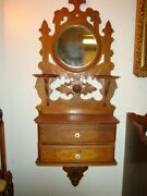 Antique Wall Shaving Stand Black Forest Style, Mirror, 2 Drawers, C. 1890-1900