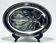 Marvelous Vintage Wm A Rogers Footed Silver Plated Meat Platter Tray