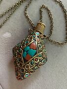 Vintage Brass Coral And Turquoise Chips Faux Snuff Bottle Necklace