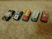 Set Of Five Vintage Miniature Tin Cars - Made In Japan And Hong Kong