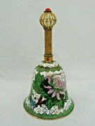 Vintage Chinese Cloisonne Enamel Bell With Gilt Handle