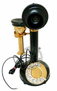 Antique Brass American Landline Telephone Vintage Rotary Dial Candlestick Phones