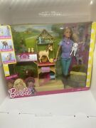 Barbie Farm Vet Playset Set Doll, 7 Animals And Career Accessories