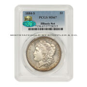 Key Date Of The Series 1884-s 1 Silver Morgan Dollar Pcgs Ms67 Cac Illinois Set