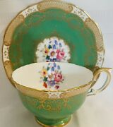 Rare Crown Staffordshire Emerald Green Floral With Gold Accents Made In England