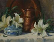 Linda Glover Gooch On The Third Day White Lilies Oil Painting On Linen 11x14