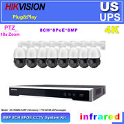 5mp Ptz 18x Zoom Hikvision Compatible 8ch 8poe Cctv System Lot Ds-7608ni-k2/8p