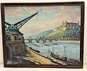 Original Painting Of Wurzburg Old Crane And Castle Germany Oil On Canvas 22 X 17