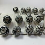 Ceramic Knobs Hand Painted Kitchen Dresser Cabinet Black And White Mixed 29