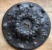 Rare Victorian Carved Wood Celing Rose Light Fitting / Arts And Crafts / Nouv
