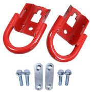 Front Set 2 Red Tow Hook W/ Hardware Right And Left For 09-21 Ford F-150 Parts