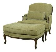 L52966ec Ethan Allen French Style Bergere Chair And Ottoman