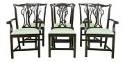 L52981ec Set Of 6 Councill Craftsmen Chippendale Mahogany Dining Room Chairs