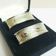 Vintage Solid Silver Sterling Boxed Pair Of Napkin Rings London Hallmarks 1992