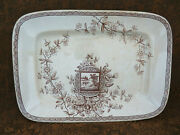 Large Antique Aesthetic Brown Transfer Ware Platter W. And T. Adams Maitland