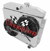 3 Row Rs Champion Radiator, 2 10 Fans, Shroud For 1955 - 1957 Chevy Cars V8 Eng