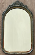 19th C. Spanish Antique Baroque Carved Arched Ornate Floral Acorn Wall Mirror Sm