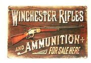 New Winchester Rifles Tin Poster Sign Man Cave Vintage Ad Style Gun Ammo Shop 2
