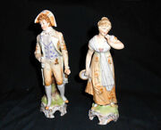 Victorian Pair Kalk Germany Bisque Porcelain Handpainted Man And Lady Figurines