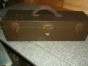 Large Antique Fishing Tackle Box Kennedy Leather Handle Nice