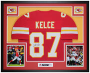 Travis Kelce Autographed And Framed Red Chiefs Jersey Auto Beckett Cert