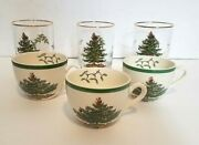 Spode Christmas Tree Old Fashioned Glasses And Tea Coffee Egg Nog Cups Lot Of 6
