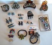 Hair Accessories Lot Of 23 Metal Rhinestones Clips Barretts Ties Scunci And Other