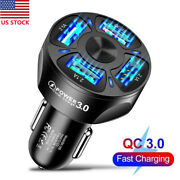 4 Usb Ports Car Charger Adapter Led Light Fast Charging For Iphone Samsung Us