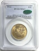 1932 10 Gold Indian Head Eagle Coin Pcgs Ms63 Cac