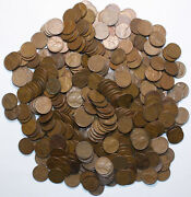 1909 To 1958 Nice Mix Lincoln Wheat Cents Pds Lot Of 500 Quality Coins Free Ship