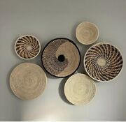Assorted Set Of 6 African Baskets Hanging Wall Decor