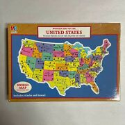 Milton Bradley Wooden Map Of The United States Jigsaw Puzzle 1988 Rand Mcnally