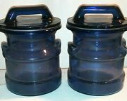 Two Vintage Le Smith Glass Milk Can Canister Or Storage Jars Blue 8 Tall