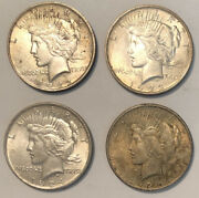 Lot- 4 Coins - 1922 1923 1924 And 1925 Peace Dollars High Grade Bu Unc Ms Toned