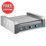 Commercial 24 Hot Dog Compact Food Griller Roller Flat Grill Cooker W/ 9 Rollers