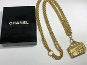 Quilted Bag Motif Chain Opera Necklace 76cm Gold Color Vintage W/box