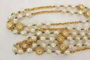 Long Necklace Gold Plated Rhinestone And Pearl Beaded Cc Logo Vintage W/box