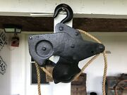 Antique Large Heavy Cast Iron Hay Trolley 3 Wheels And Hook