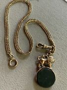 Antique 1924 Handh Gf Watch Chain And Rare Gf Bloodstone Spinner Lion England Fob
