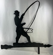 Vintage Metal Fisherman Weather Vane Topper Only 27 Long 26 Tall As Is Hand Fo