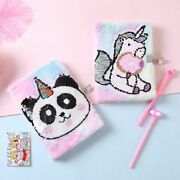 Cute Unicorn Notebook With Lock A5 Journal Cat Diary Notepad Plush Note Book