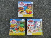 3 Play-doh Kitchen Creations Set Burger Fries Silly Noodles And Milk And039n Cookies