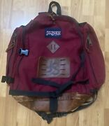 Vintage 90s Jansport Leather Backpack Day Pack Made In Usa Burgundy Rare