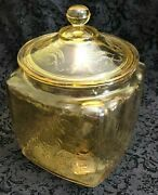 Depression Ware, Cookie Jar, Made By Federal Glass Co In Madrid Pattern, Amber C