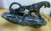 Vintage 1950and039s Mid Century Ceramic Black Panther Tv Lamp Light Planter 15 Old O