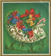 Vintage Christmas Embossed White Gold Victorian Sleigh Greeting Art Card Creased