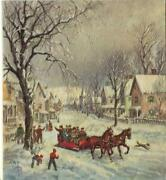 Vintage Christmas Victorian Red Sleigh Ride Horses Dog Houses Snow Greeting Card